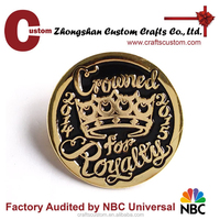 Nice looking gold plating metal pin made in china