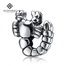 2018 New Arrival ebay silver charms solid sterling silver beads DIY scorpion charm beads