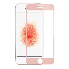 9H Hardness full cover silk printed scratch resistant mobile phone screen protector for iPhone 5 5c 5s(rose gold)