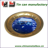 OEM printed Small metal promotion tin serving tray