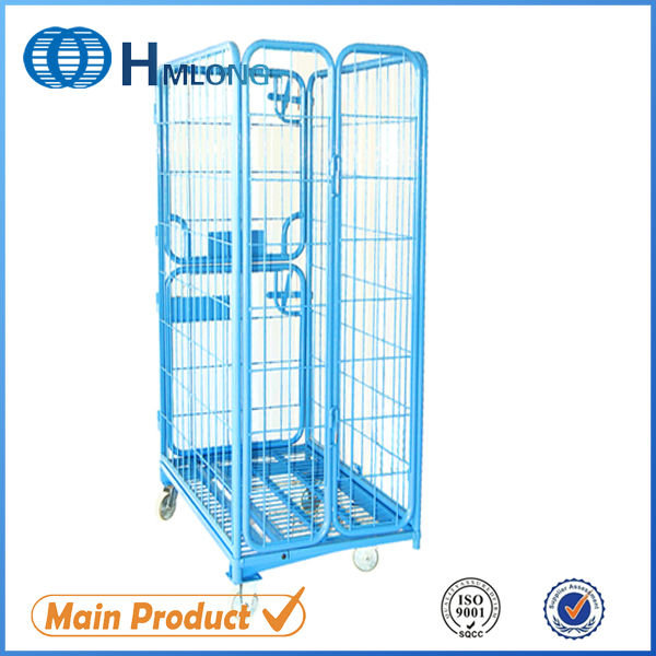 Industrial collapsible steel roll container display cart