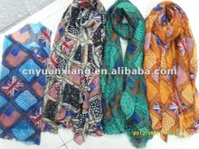 2012 long fashion printed scarf/wholesale voile scarf