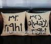 Mr and mrs cotton linen cushion cover, couple cushion cover