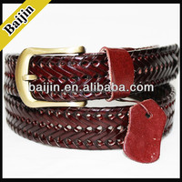 men's fashion regenerated leather leather weave belts