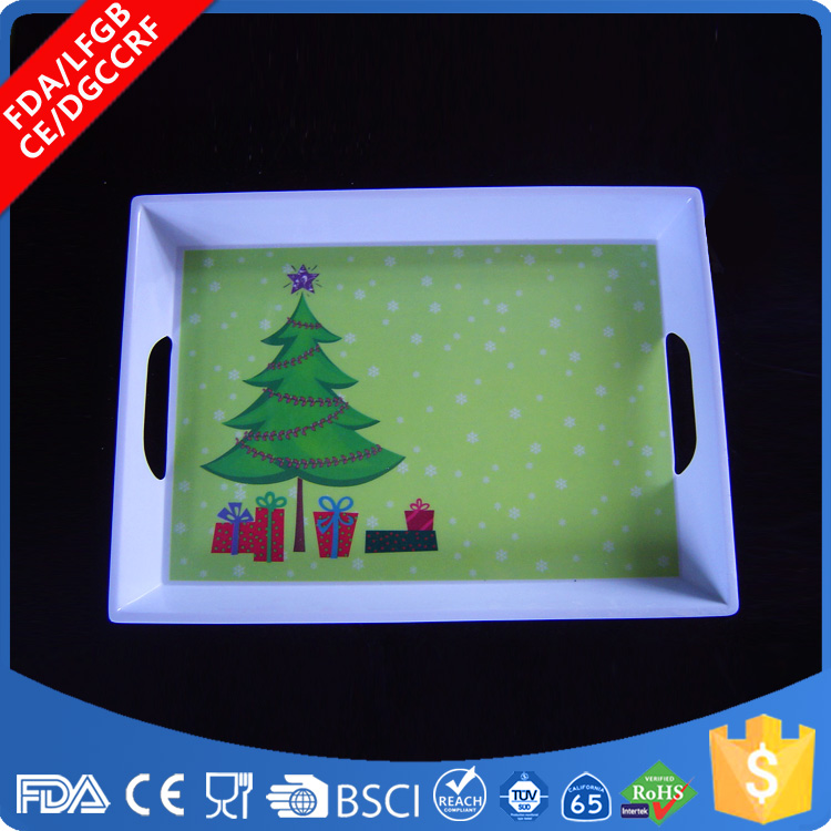 Customized professional plastic melamine rectangular tray with handle
