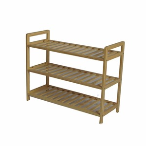 Simple design 3 tier homemade solid wood shoes rack for entryway