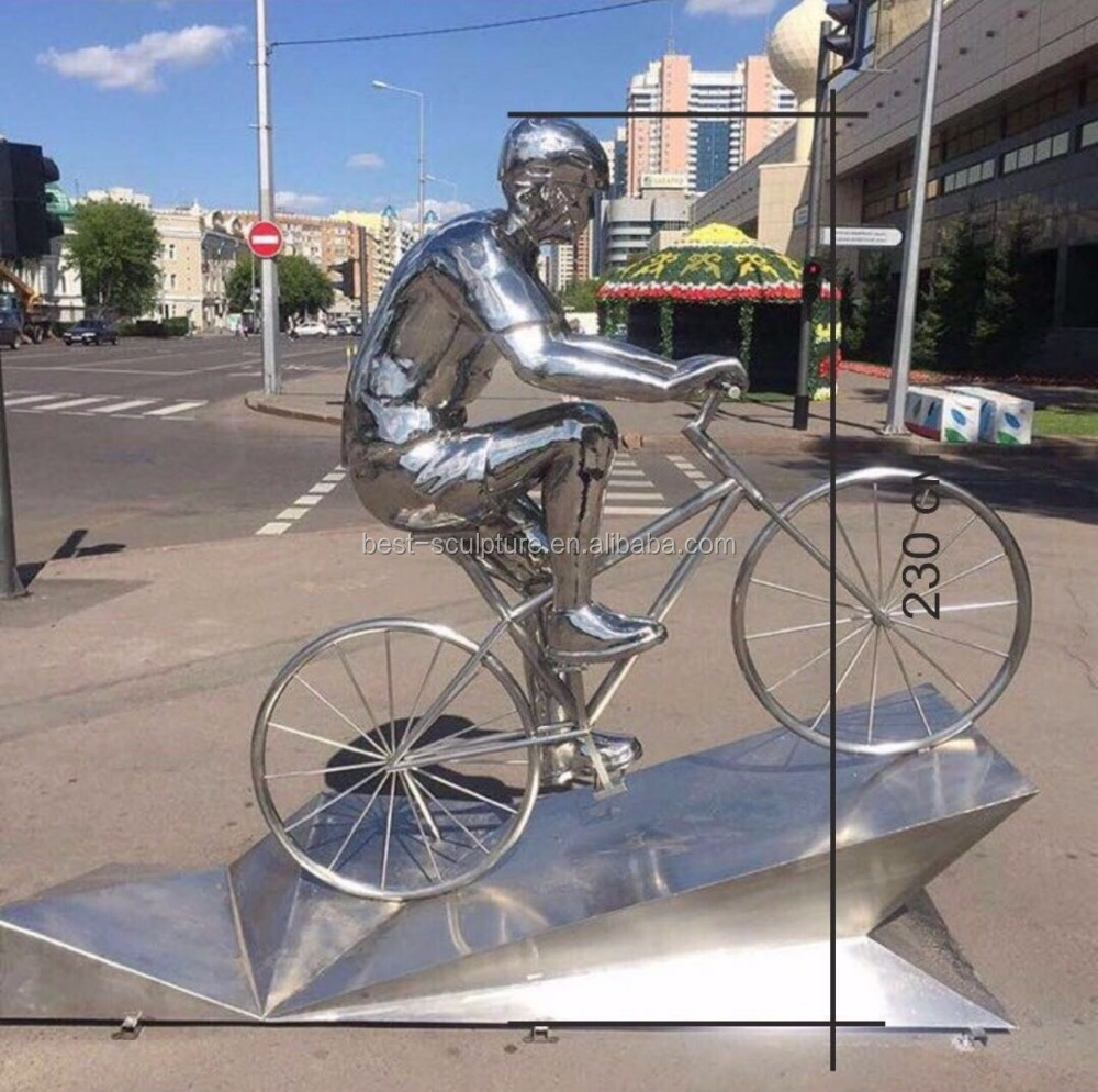 man on bicycle statue stainless steel modern sculpture