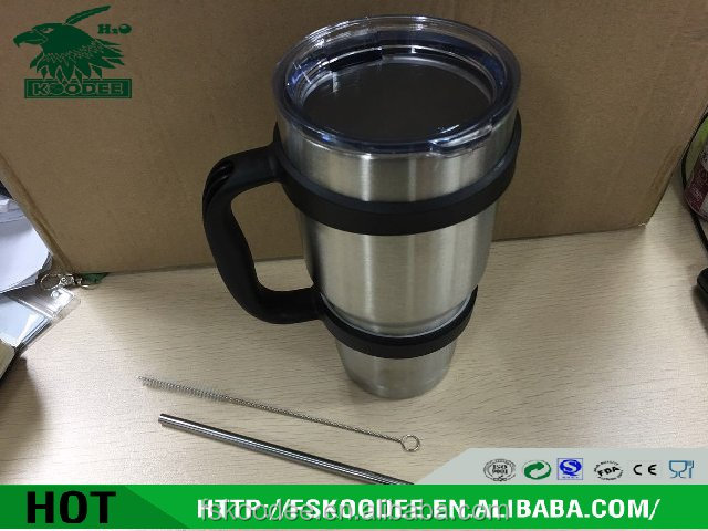 the top new design BPA free double wall stainless steel coffee cup with cover with straw