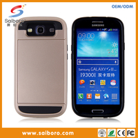 Newest tough armor case PC hard card holder case for samsung galaxy S3/I9300