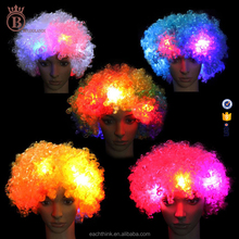 Best Selling 120G Eco-friendly Football Fans Carnival Clown LED Flash Afro Wigs