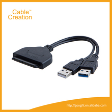 "USB 3.0+USB 2.0 to Sata 22pin Data Enhanced Power Cable Adapter for 2.5"" Inch HDD Hard Disk Driver Cable"