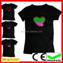 Latest design custom t-shirt for lovers heart glowing el led tshirt