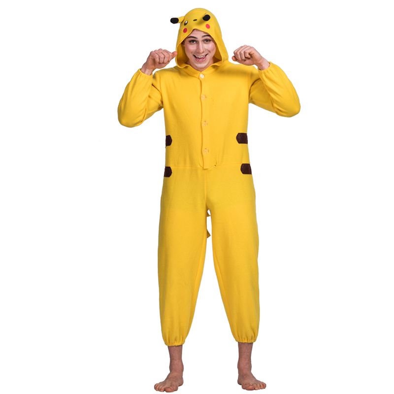 adults funny animal Pikachu cosplay costume for party unisex velvet jumpsuit costume