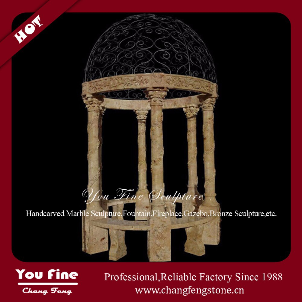 Six columns Marble Gazebo With Iron Top