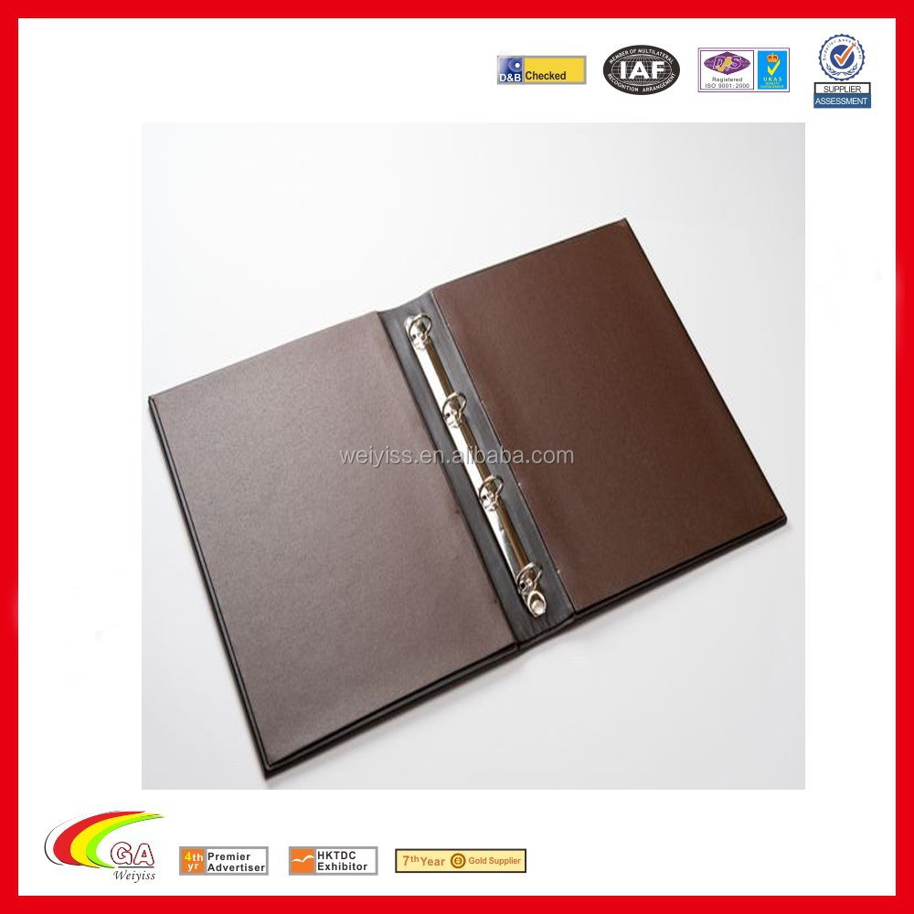2015 new products leather restaurant bifold loose leaf ring binder menu cover