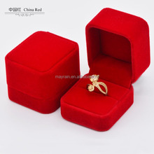 MOQ 100pcs, China red color velvet finger ring earring jewelry gift boxes wholesaler, High Quality present gift box maker