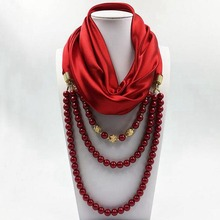 Hot selling lady fashion polyester square scarf beads necklace pendant embellished jewelry scarf