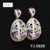 2016 Beautiful pave diamond jhumka jewelry flower dangle earring 925 silver jewellery wholesaler india