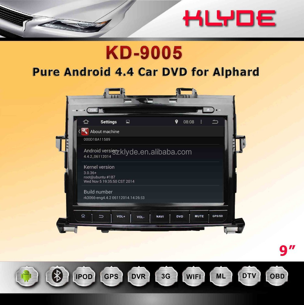 Capacitive Touch Screen Blue Ray 2din Car Dvd Player For Alphard