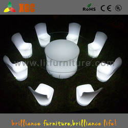 fashion design illuminated plastic led chair furniture reinforcing bar chair with RGB color change