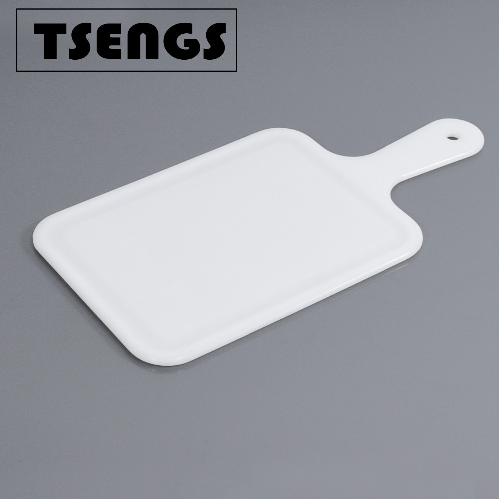 Hand-held white antiskid plastic chopping board
