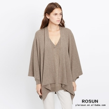 women relaxed open front luxurious cashmere poncho 2015