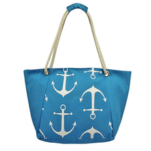 rope handle custom wholesale canvas beach bag tote