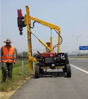 Highway Professional Hydraulic Highway Guardrail Post Driver Truck