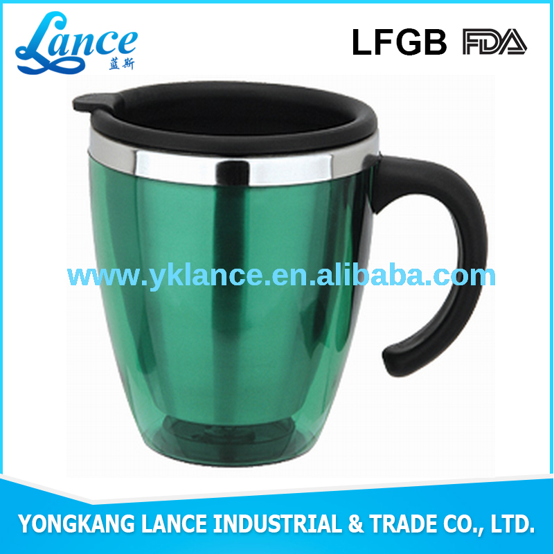 Double wall Inner plastic Outer stainless steel porcelain coffee mug
