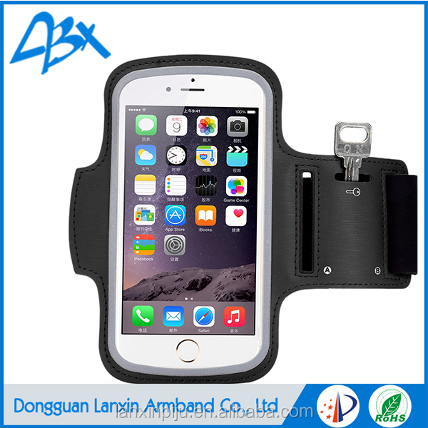 Black Sport running mobile phone armband luxury case for Samsung Galaxy S6 with Key Holder and Card Slot