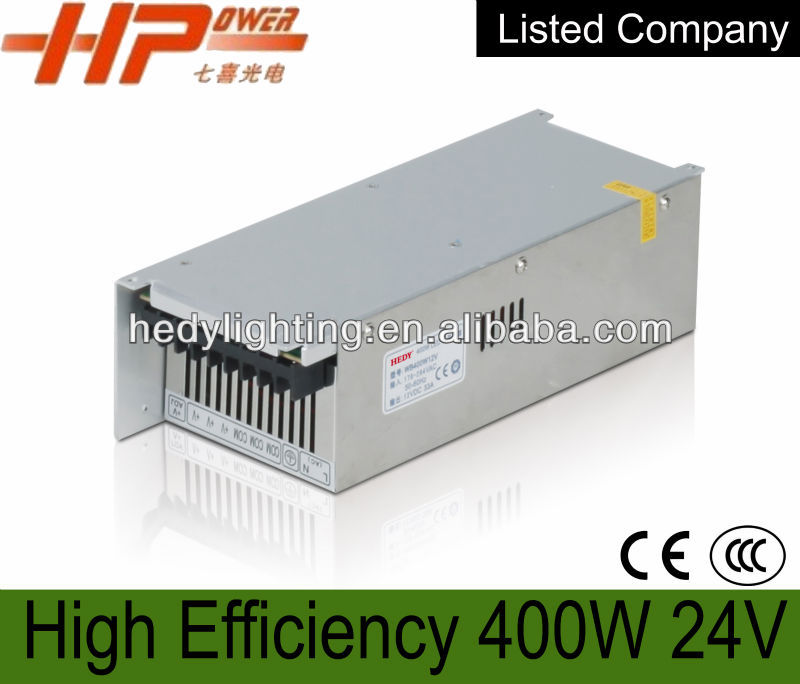CE RoHs approved 400w 16.5a 24v constant voltage single output ac dc regulated switching mode dimmable led power supply