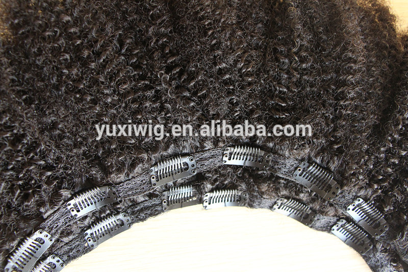 In Stock Afro Kinky Curly Remy Clip In Hair Extensions 100% human virgin hair