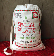 Monogrammed Personalized Santa bags and add your child's name