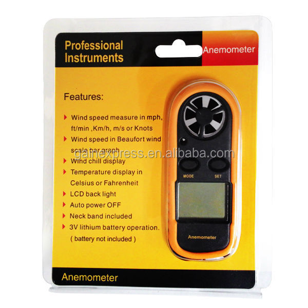 Mini Anemometer Speed Temperature Meter/ Bar Graph Thermometer Air Wind Flow Tester