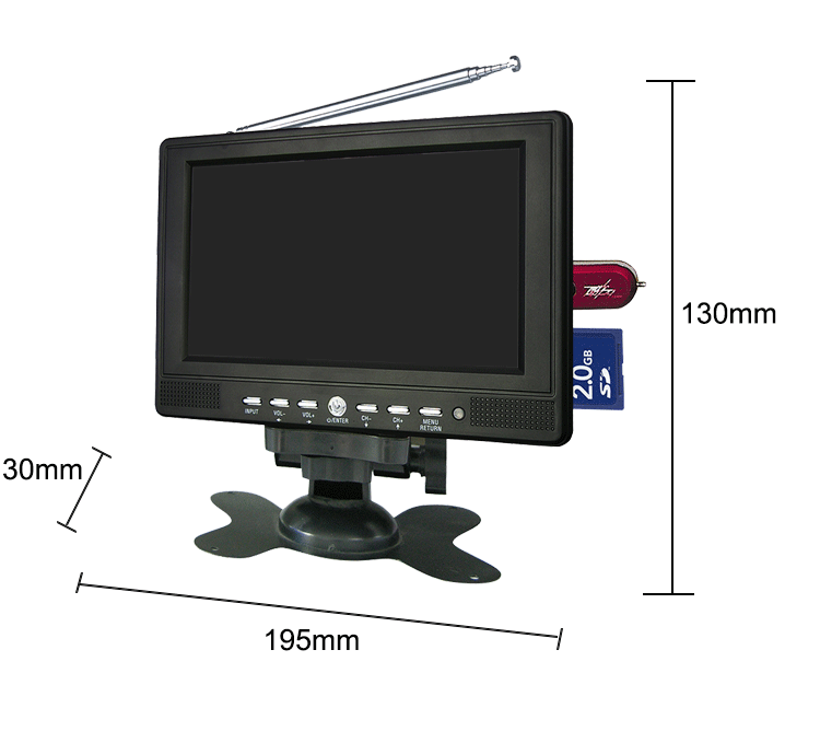 Hot 7 inch home video equipemnt LED mini tv with USB / SD LD-768S