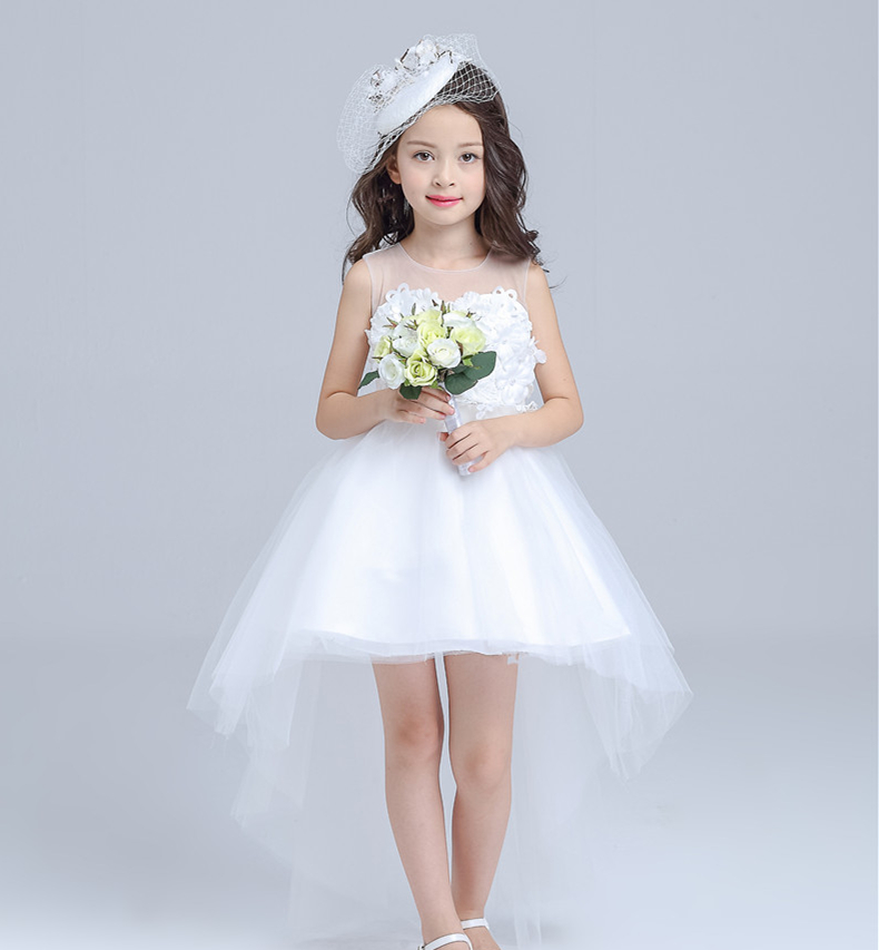 modern appliqued sheer layered little girls bridal formal dress pattern wtih long train
