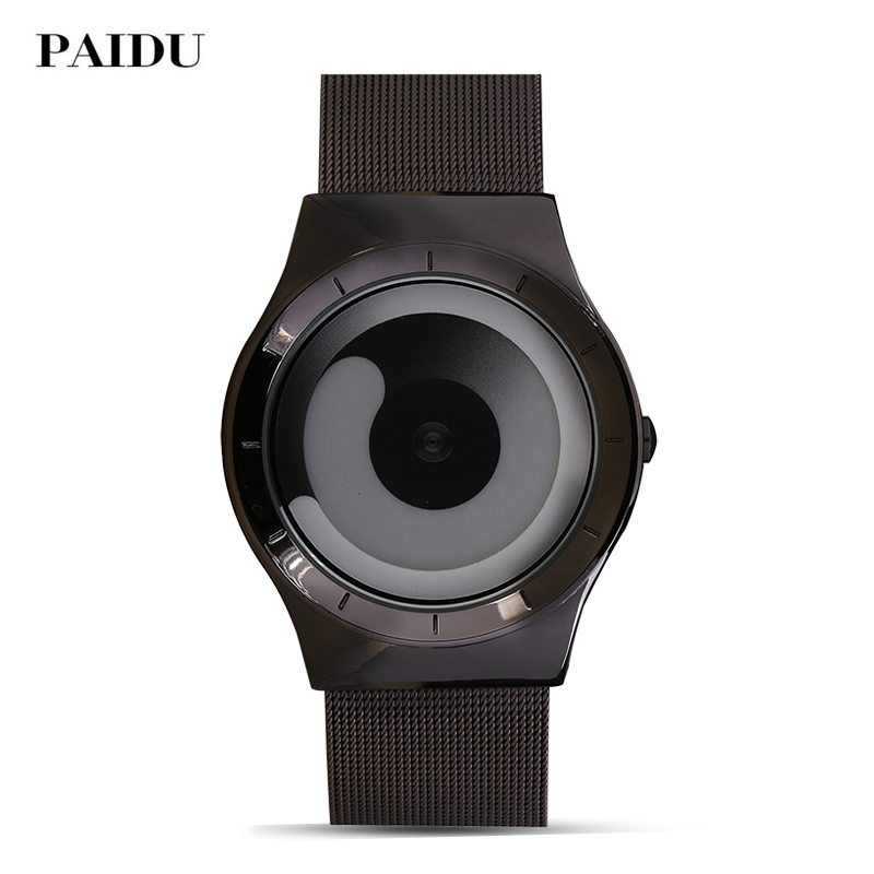 Top Brand Fashion Watch Turntable Dial Creative Design Women Casual Stainless Steel Strap Quartz Men Luxury Paidu Watch 2018 <strong>Hot</strong>