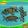 China Made fish shape 3d car emblem /ABS car logo / chromed or gold motor vehicle emblem logo car badge