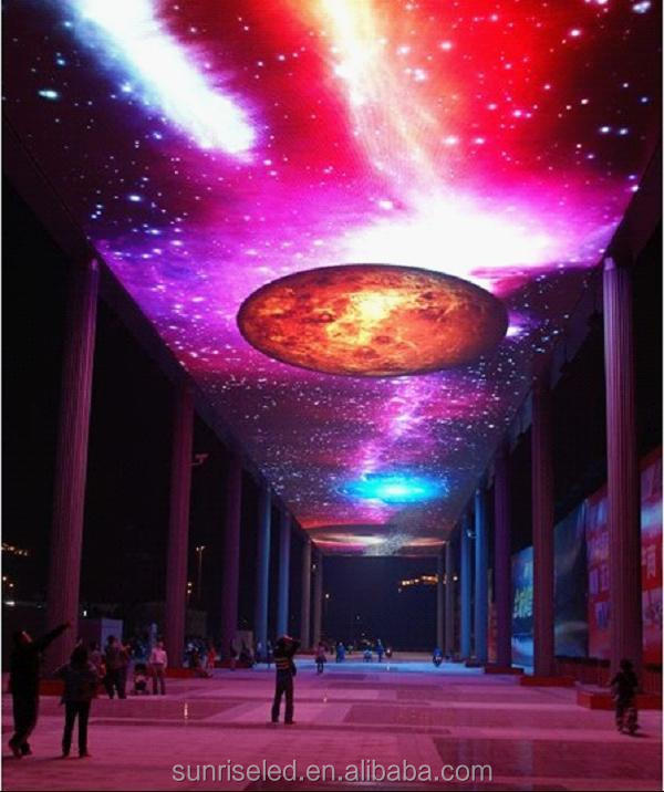 Transparent programmable p31.25 rgb led strip/mesh for building media facade