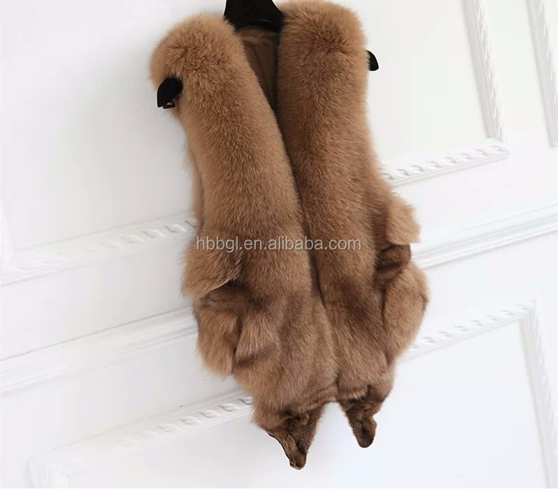 2017 Real Sliver Fox Fur Vest form China,Fox Fur Vest with top Quality Sliver Fox Pelt Plates