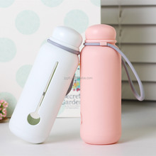 300ml Portable Double Wall Drinking Glass Water Bottle With Silicone Sleeve