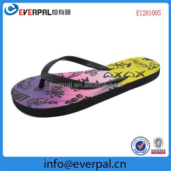Black Rubber Flip Flops With Printing
