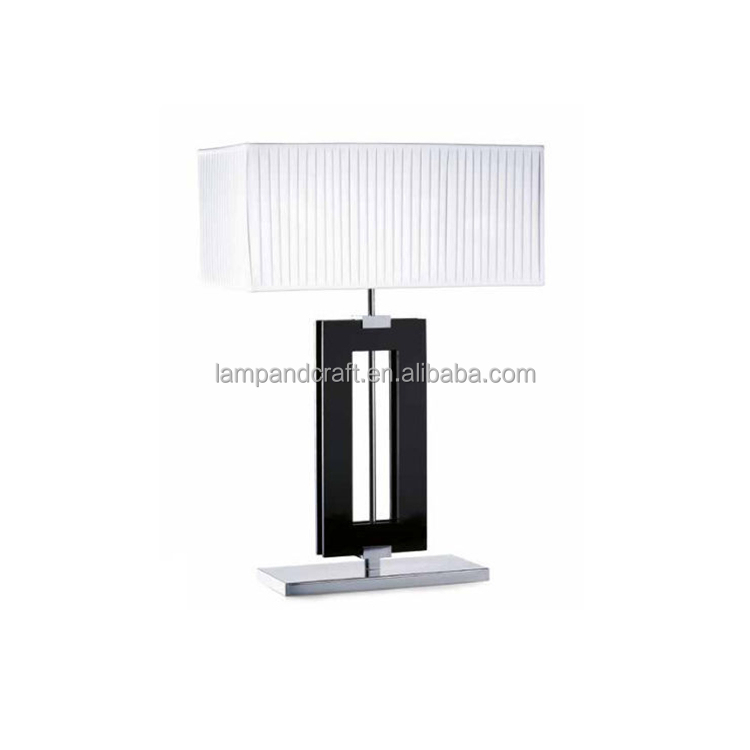 UL CUL certificate hotel project ebony wood desk lamp hand made craft pleat fabric lamp shade