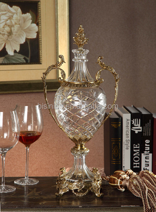 Royal Bronze Crystal Fruit Bowl, Unique Home Decorative Crystal with Brass Fruit Bowl (BF01-0207-1)
