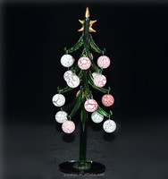 Hot christmas decoration item 2016, 25cm green crystal tree with colorful round hangings, as crystal souvenir from ali import