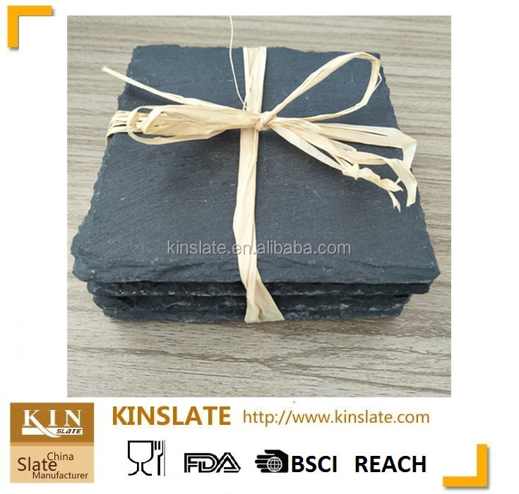 Home Collection slate square coasters 4pk with <strong>10</strong> x <strong>10</strong> cm