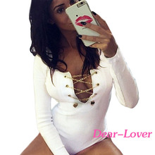 Sexy White Deep V Neck Tight Bodysuit Ladies Tops