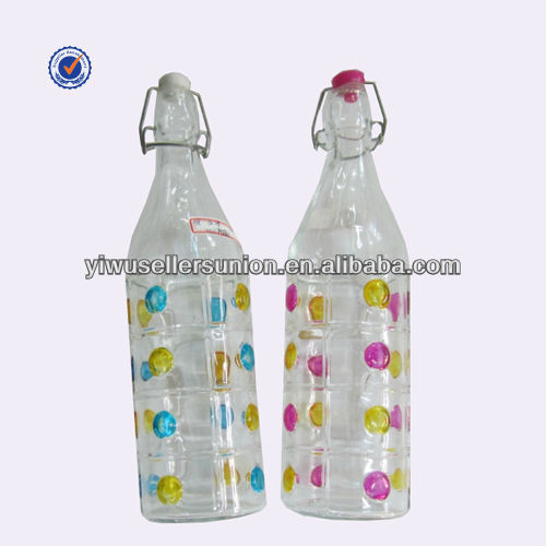 Clear decorative glass colored bottle