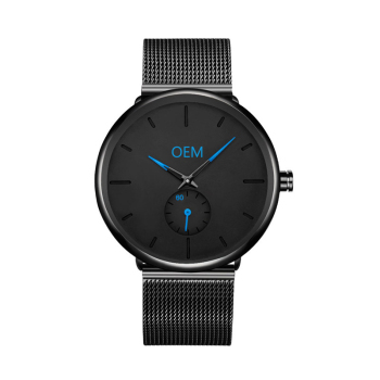Watch Custom Logo Make Your Own Design Blue Hands OEM Men Watches Ultra-thin Custom Blue Logo Watch Men Personalized