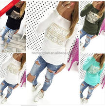 Chic Womens Loose Pullover T Shirt Long Sleeve Cotton Tops Blouse Print